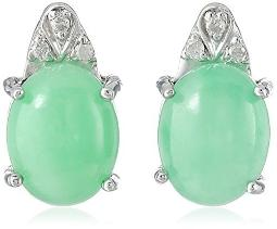 Rhodium-Plated Sterling Silver Onyx | Jade | Aquamarine and Diamond Accent Stud Earrings