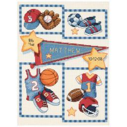 """Baby Hugs Little Sports Birth Record Counted Cross Stitch Ki-9""""X12"""" 14 Count 73256"""