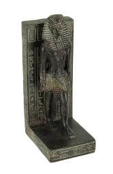Dark Brown Stone Finish Egyptian Pharaoh Bookend Statue