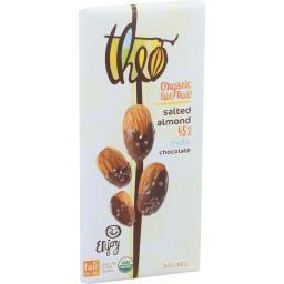 Theo Chocolate Organic Chocolate Bar - Classic - Milk Chocolate - 45 Percent Cacao - Salted Almond - 3 oz Bars - Case of