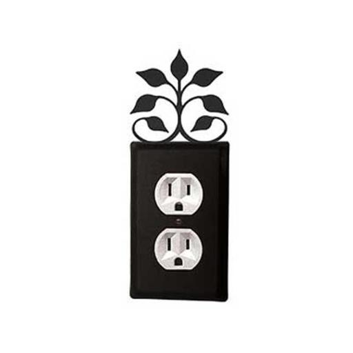 Village Wrought Iron EO-109 Leaf Fan Outlet Cover-Black