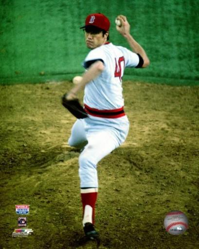 Rick Wise #40 of the Boston Red Sox pitches during Game 6 of the 1975 World Series at Fenway Park on October 21, 1975. Photo Print