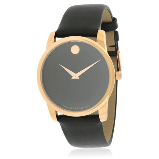 Movado 607078 Movado Museum Classic Leather Mens Watch, Black