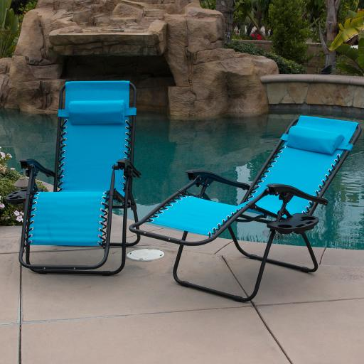 BELLEZE Sky Blue Zero Gravity Lounge Chair Recliner for Outdoor Beach Patio Pool with Cup Holder Tray, Set of (2)