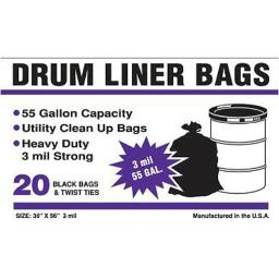 "Primrose Plastics 55320 20 Ct Drum Liner Bag 36""x 56"" 3mil Black Bags On A Roll 55 Gallon"