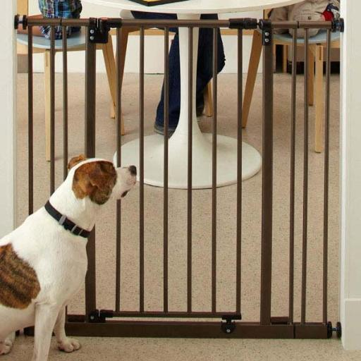 North States 4993S Brown North States Extra Tall Deluxe Easy-Close Pressure Mounted Pet Gate Brown 28 - 38.5 X 36