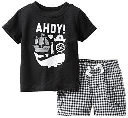 Carter's Baby Boys' 2 Piece Short Set (Baby) - Black - 3 Months