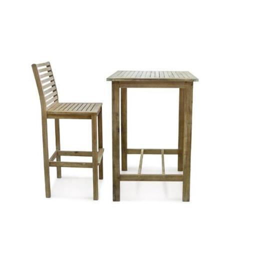 Vifah V1381 3 Piece Premium Eucalyptus Wood Folding Bistro Set with Square Table - 24 x 24 x 43 in.