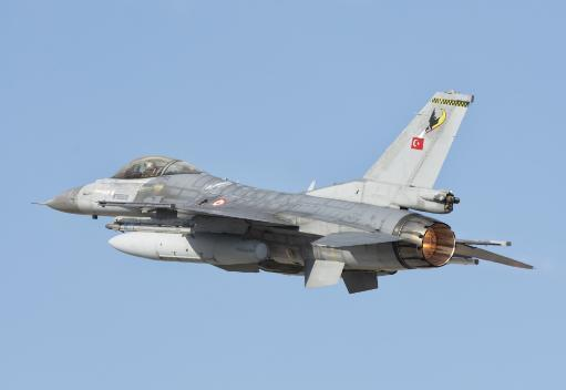 Turkish Air Force F-16 in flight during Exercise Anatolian Eagle 2016. Poster Print by Giovanni Colla/Stocktrek Images