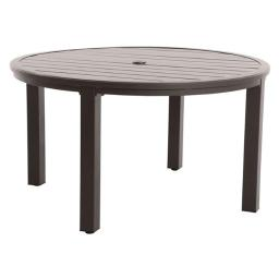 Portica L8854RD-01-FPAN Post Leg Slats Outdoor 54 in. Round Dining Table, Dark Brown