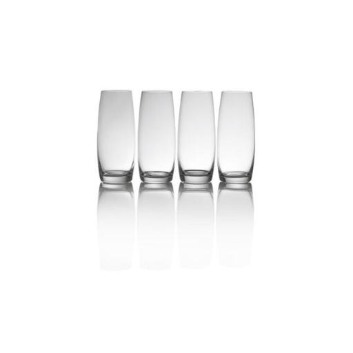Mikasa 6749691 9 oz Clear Stemless Champagne Flutes Glass, Crystal