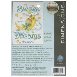 """Sweet Dreams Birth Record Counted Cross Stitch Kit-5""""X7"""" 14 Count 70-73923"""