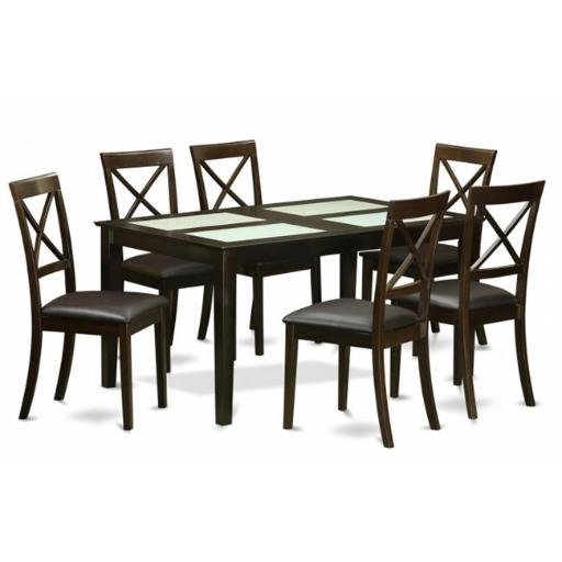 East West Furniture CABO7G-CAP-LC 7 Piece Dining Room Set For 6- Table With Glass Top Inserts and 6 Dining Chairs