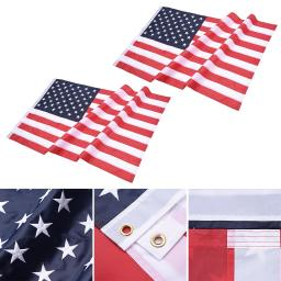 2 Pcs 3x5 FT American Flag Embroidered Stars Sewn Stripes 210D Oxford UV Resistant with Brass Grommets US Flags Outdoor