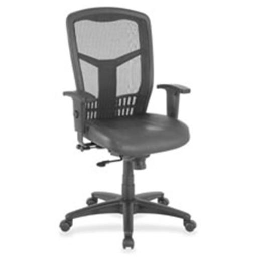 Lorell LLR86208 Executive Chair, Adjustable, Leather-Black