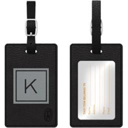Centon Electronics 67843 Otm Monogram Black Leather Bag Tag, Inversed Graphite K