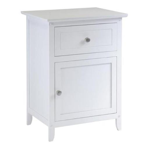 Winsome 10115 Night Stand- Accent Table with Drawer and cabinet for storage- White