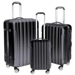 "3 Piece Luggage Set 20"" 24"" 28"" Black Rolling Travel Case Lockable ABS Suitcase Trip"