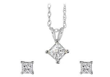14K White Gold Diamond Pendant Earrings Jewelry Set