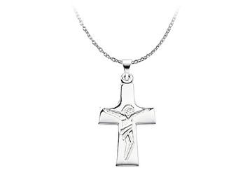 14K White Gold Engraved Lord Jesus Crucifix Pendant