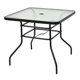 32 Patio Tempered Glass Steel Frame Square Table ""