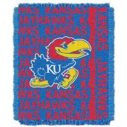 "The Northwest Company Officially Licensed NCAA Kansas Jayhawks Double Play Jacquard Throw Blanket, 48"" x 60"""