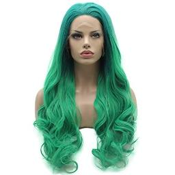 Lace Front Synthetic Wig Wavy Long 26inch Green Root Light Green Ombre Wig Half Hand Tied Heat Friendly Full Density Wig
