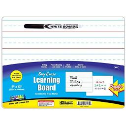 Bazic 9 x 12 inches Double Sided Dry Erase Learning Board with Marker, Case of 24