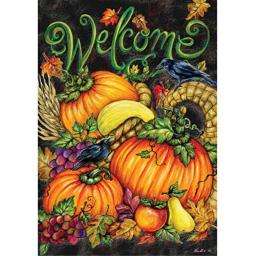 """ Harvest Welcome "" - Double Sided, Standard Size, 28 Inch X 40 Inch Decorative Flag"