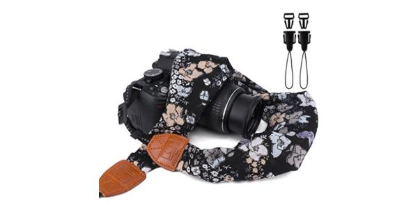 Elvam Universal Men and Women Scarf Camera Strap Belt Compatible for All DSLR Camera SLR Camera Instant Camera and Digital Camera - Black Floral... Elvam Universal Men and Women Scarf Camera Strap Belt Compatible for All DSLR Camera SLR Camera Instant Camera and Digital Camera - Black Floral Pattern