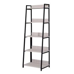 Wooden Frame Bookshelf with 5 Open Compartments, Washed White and Black