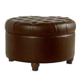 Leatherette Upholstered Wooden Ottoman with Tufted Lift Off Lid Storage, Brown