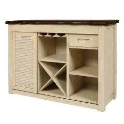2 Shelf Dual Tone Wooden Server with Wine and Stemware Rack,Beige and Brown