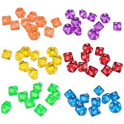 MonkeyJack Set of 60 Pieces Ten Sided D10(0-9) Dice Die for DandD Party Pub Bar Casino Poker Card Dice Guessing Game Accessories