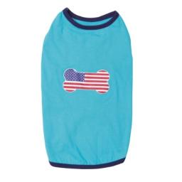 Casual Canine Polyester/Cotton All American Pup Dog Tee, X-Small, 10-Inch, Blue