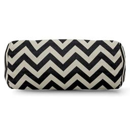 "Majestic Home Goods Black Chevron Indoor/Outdoor Round Bolster Pillow 18.5"" L x 8"" W x 8"" H"