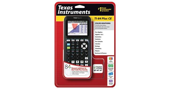 Texas Instruments TI-84 Plus CE Graphing Calculator, Black .High-resolution, full-color backlit display.Rechargeable battery.Preloaded apps and images.Fourteen interactive zoom features.MathPrint feature.Seven different graph styles for differentiating the look of each graph drawn.Available in a variety of fun colors.
