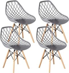 Plastic Shell Armless Side Chair with Beech Wood Legs