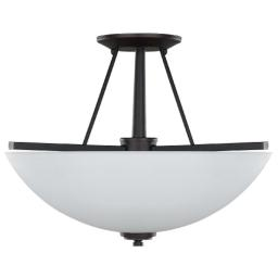 Canarm ISF256A03ORB New Yorker 3-Light 15-Inch Semi-Flush Fixture, Flat Opal Glass Bowl and Oil Rubbed Bronze