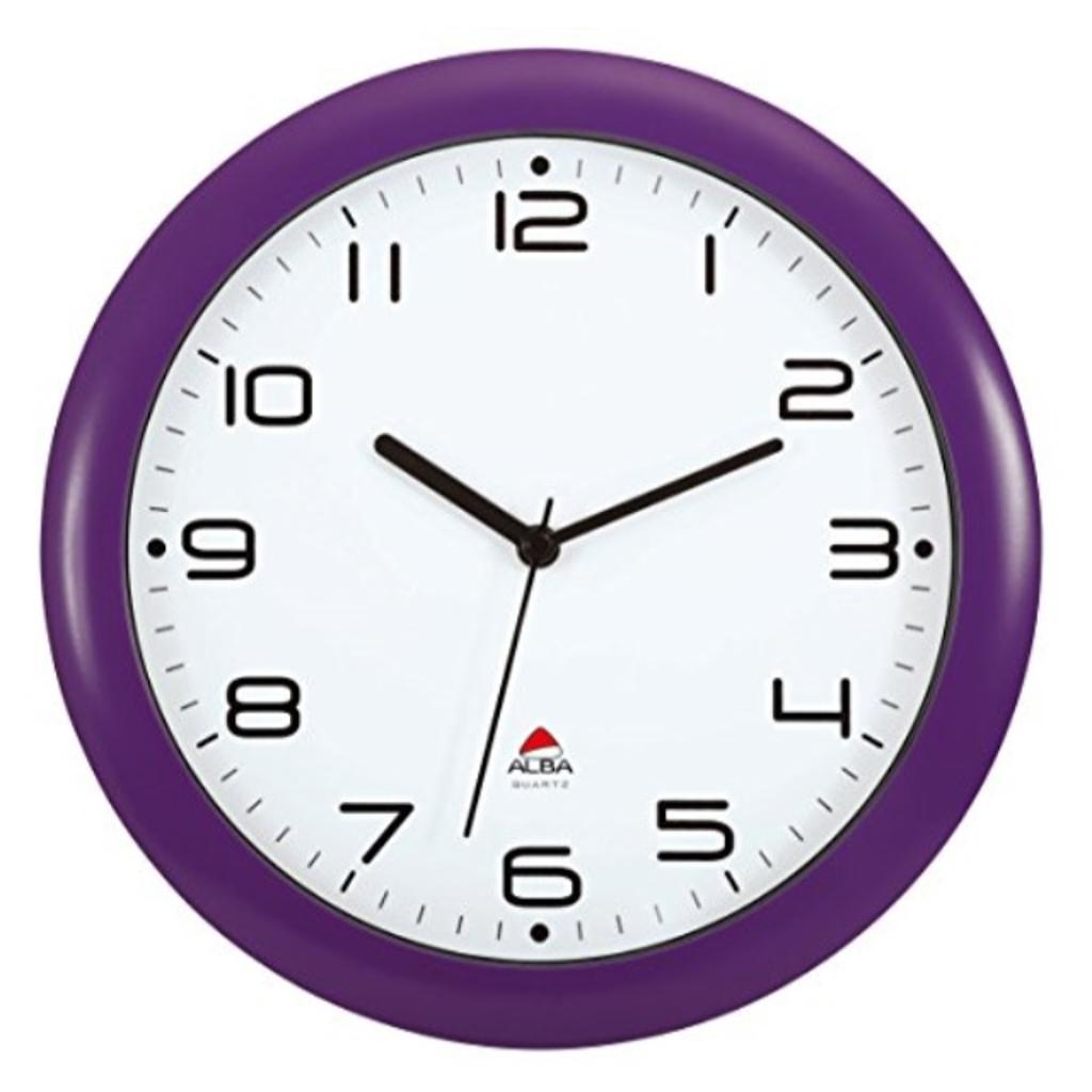 Alba 12-Inch Silent Wall Clock, Purple Frame (HORNEW P)