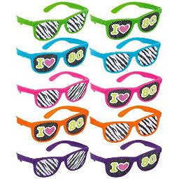 amscan 250241 Awesome 80's Party Assorted Color Glasses with Printed Lenses Accessory (1 Piece), One Size, Multicolor