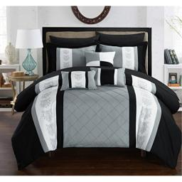 Chic Home 10 Piece Jack Pintuck Pieced Color Block Embroidery King Bed In a Bag Comforter Set Grey With sheet set