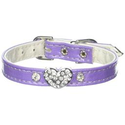 Mirage Pet Products 1 and 3 Heart Purple Pet Collars with Clear Hearts, 1 Heart, Size 10