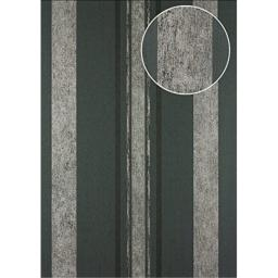 Stripes Wallpaper Wall Atlas 24C-5059-1 Non-Woven Wallpaper Smooth with Graphical Pattern and Metallic Highlights Grey Graphite-Grey Black Silver 7.035 m2 (75 ft2)