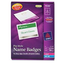"""Avery Pin Style Name Badges, Print or Write, 3"""" x 4 """", Pins Securely, 100 Inserts & Pin Badge Holders (74540), White"""