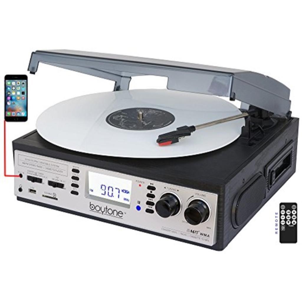 Boytone BT-19DJS-C 3-speed Turntable, 2 Built in Speakers Large Digital Display AM/FM, Cassette, USB/SD/AUX/MP3, Recorder & WMA Playback /Recorder & Headphone Jack + Remote Control