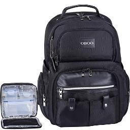 OBOO Business Travel Laptop Lunch Backpack with Removable Large Insulated Tote Lunch Box 3 Meals Management Lunch bag for Men&Women cooler Backpack Fits 156 Laptop Notebook,Ice Pack Fitness Backpack