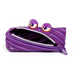 Zipit Wildlings Pencil Case for Girls, Holds Up to 30 Pens, Machine Washable, Made of One Long Zipper! (Purple)