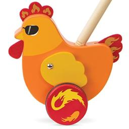 Imagination Generation Radical Racers Spicy Chicken Wooden Push-Along Walking Toy