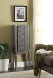 Wood Jewelry Armoire With 5 Drawers in Silver